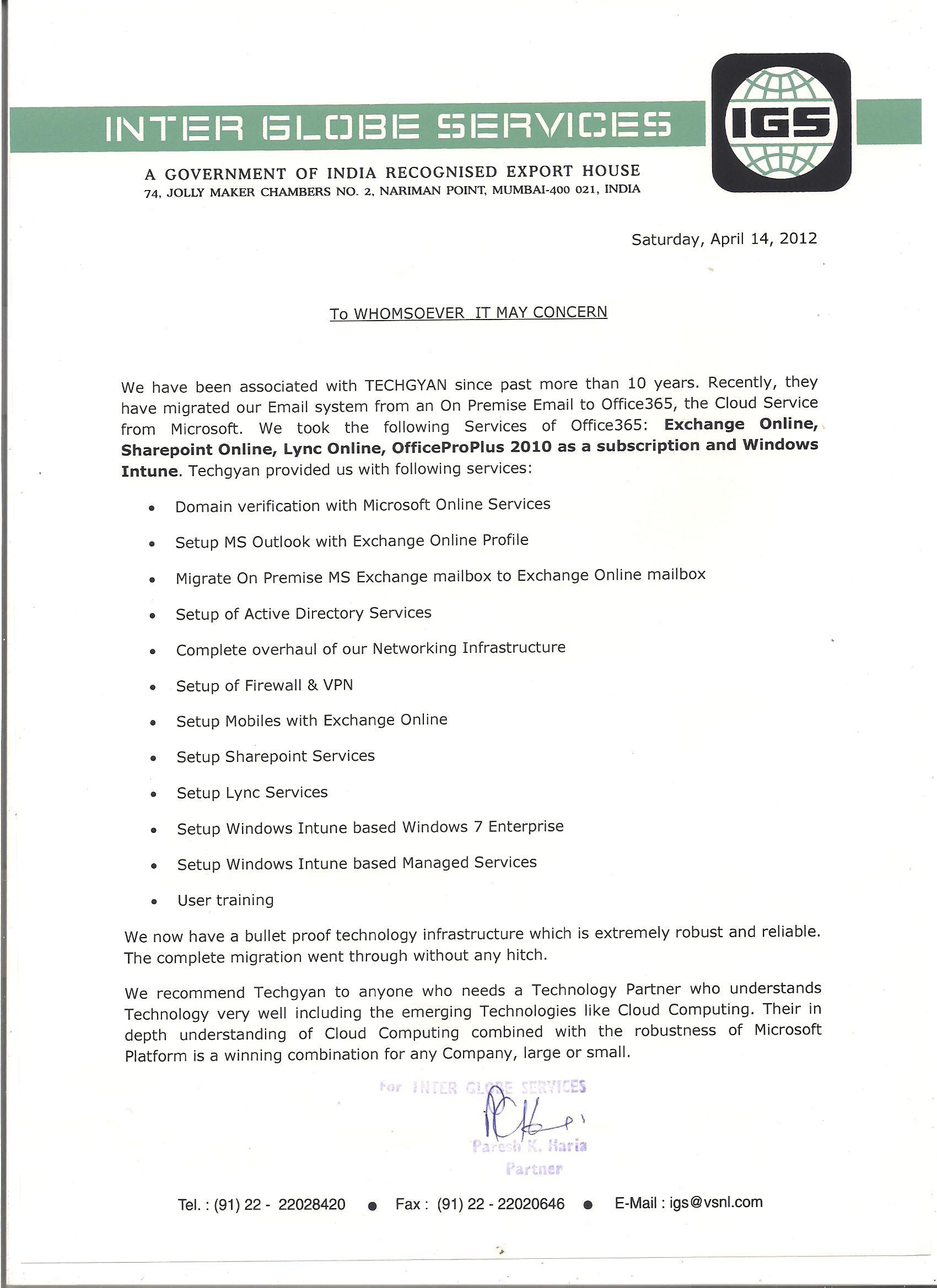 Inter Globe Service Letter